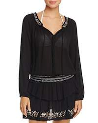 Surf Gypsy Embroidered Peasant Dress Swim Cover Up Black Ivory