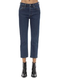 Levi's 501 High Rise Cropped Stretch Jeans Blue