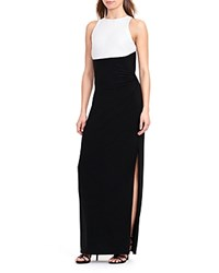 Ralph Lauren Petites Sequin Color Block Gown Black White Shine