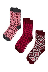 Jonathan Adler Assorted Geo Crew Socks Pack Of 3 Pink