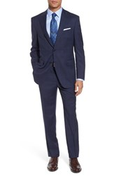 Peter Millar Men's Big And Tall Classic Fit Plaid Wool Suit Navy