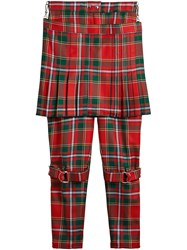 Burberry Modern Stewart Royal Tartan Punk Trousers Red