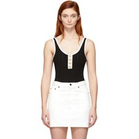 Balmain Black And White Knit Button Bodysuit
