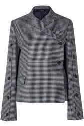 Rokh Button Embellished Houndstooth Tweed Blazer Gray