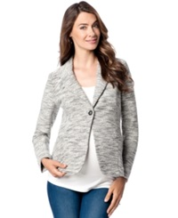 A Pea In The Pod Maternity French Terry Blazer Gray White