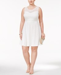 Love Squared Trendy Plus Size Lace Fit And Flare Dress White