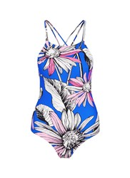 Chictopia Crisscross Back Floral Print One Piece Swimsuit Blue Multi Colour