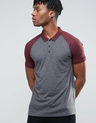 Asos Contrast Raglan Polo Shirt In Charcoal Red Charcoal Rosewood Multi