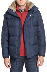 Men's Marc New York By Andrew Marc Quilted Jacket With Genuine Rabbit Fur Ink Blue