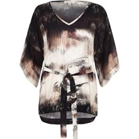 River Island Womens Pink Print Kimono Belted Top