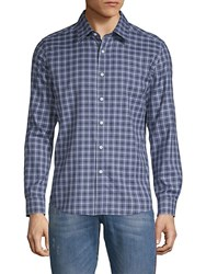 Hyden Yoo Checkered Cotton Button Down Shirt Blue Plaid