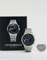 Emporio Armani Connected Stainless Steel Bracelet Smart Watch In Silver Silver