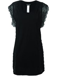 Twin Set Lace Short Sleeves Blouse Black