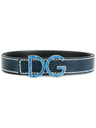 Dolce And Gabbana Logo Buckle Belt Unisex Calf Leather Blue