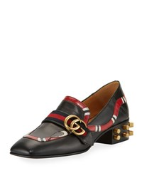 Gucci Yoko Leather Snake Loafer Black