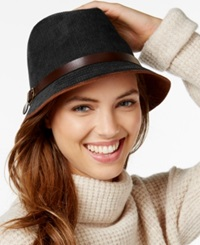 Collection Xiix Faux Suede And Buckle Trim Fedora Black