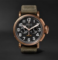 Zenith Pilot Type 20 Extra Special Chronograph 45Mm Bronze And Nubuck Watch Green