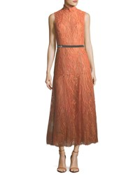 J. Mendel Sleeveless Beaded Turtleneck Lace Dress Light Orange