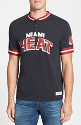 Mitchell And Ness 'Miami Heat Game Ball' Tailored Fit Short Sleeve Henley Black