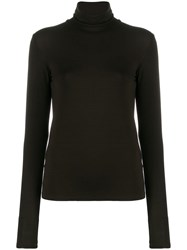 Majestic Filatures Fitted Knit Top Brown