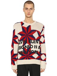 Calvin Klein 205W39nyc Star Wool Knit Sweater Ivory Red Blue