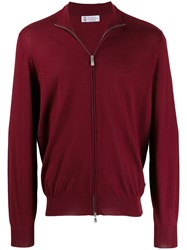 Brunello Cucinelli Zipped Fitted Cardigan Red