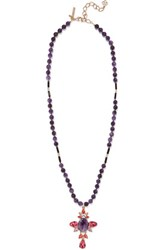 Oscar De La Renta Gold Plated Crystal And Bead Necklace Purple