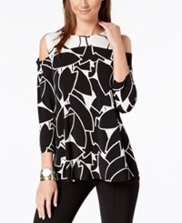 Alfani Petite Cold Shoulder Top Created For Macy's Black Layred Leaves