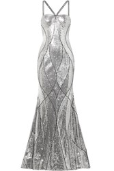 Naeem Khan Embellished Tulle Gown Silver Gbp