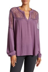 Harlowe And Graham Long Sleeve Lace Inset Blouse Purple