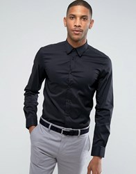 United Colors Of Benetton Slim Fit Shirt With Stretch In Black
