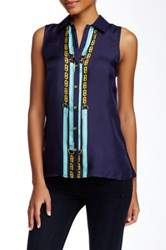Julie Brown Mellie Petal Back Sleeveless Silk Blouse Blue
