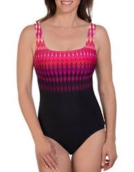 Reebok Printed One Piece Swimsuit Pink