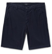 Theory Zaine Garment Washed Cotton Blend Twill Shorts Midnight Blue
