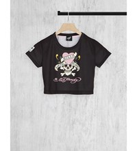 Illustrated People Cropped Cotton Jersey T Shirt Black