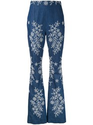 Huishan Zhang Embroidered Flared Jeans Blue