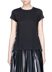 Sacai Tribal Print Sheer Cross Back T Shirt Black