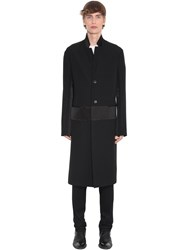 Haider Ackermann Wool Coat W Satin Details Black