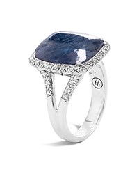 John Hardy Sterling Silver Classic Chain Magic Cut Sapphire Ring With Diamonds Blue Silver