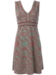 M Missoni Ribbed Patterned Shift Dress Green
