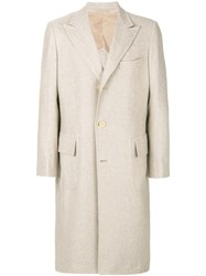 Kiton Straight Button Up Coat Cupro Cashmere Nude Neutrals