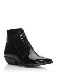Saint Laurent Theo Leather Lace Up Booties Black