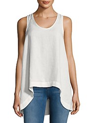 Saks Fifth Avenue Hi Lo Linen Tank Top White