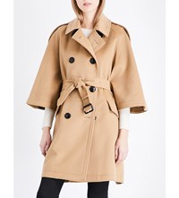 Burberry Dennington Wool And Cashmere Blend Coat Camel