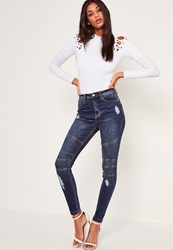 Missguided Blue High Waisted Biker Ripped Skinny Jeans