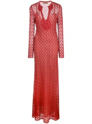 Missoni Long Lace Dress Red