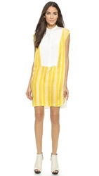 3.1 Phillip Lim Scribble Stripe Shirtdress Yellow White