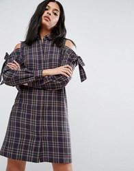 Asos Cold Shoulder Check Shirt Dress With Bow Detail Multi