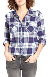Roxy Women's Squary Cool Plaid Flannel Shirt Scotty Combo Pristine White