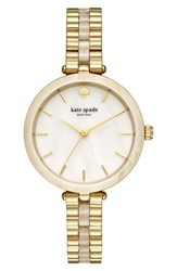 Kate Spade Women's New York Holland Bracelet Watch 34Mm Gold Mother Of Pearl Acetate